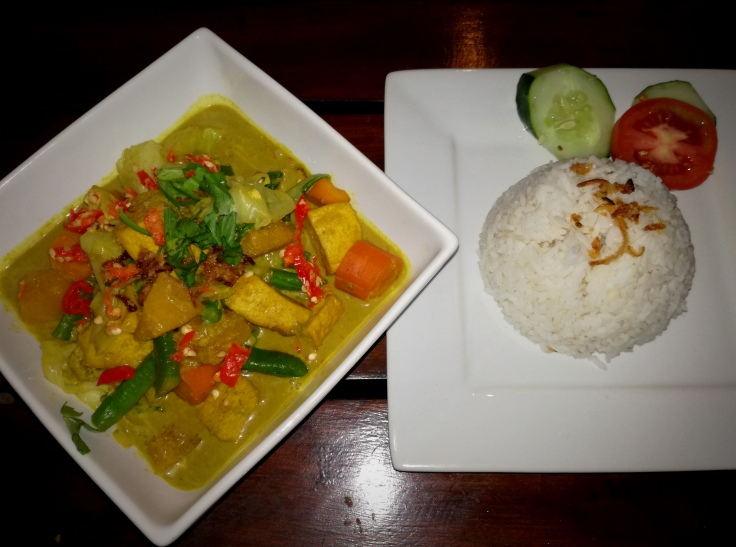 Rich vegetable curry with chilies, tofu and coconut milk.