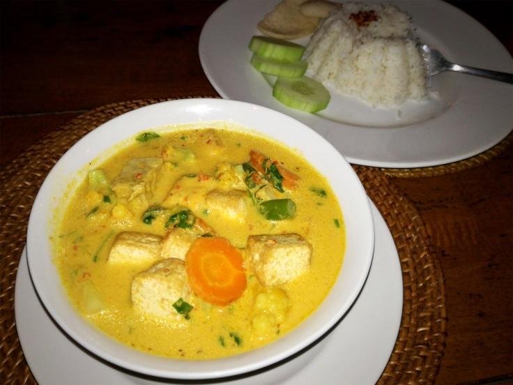Tofu curry in coconut milk.