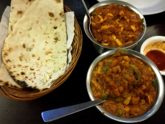 Mix Vegetable Curry and Paneer Curry with Garlic Naan (flat bread).