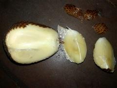 Snake fruit - looks like a garlic, but is has a nice sweet & sour taste.