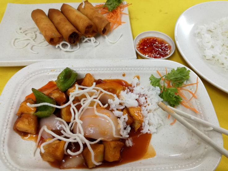 Sweet & Sour Tofu with Spring Rolls.