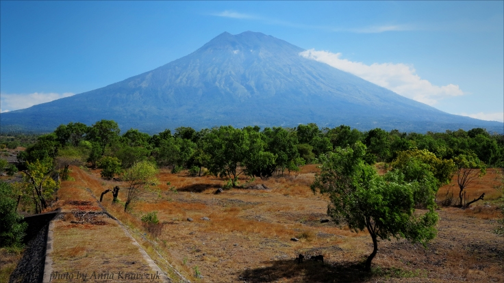 Mount Agung seen from the road between Amed and Tulamben.